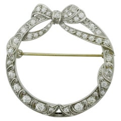 Handmade Platinum Diamond Circle Brooch, circa 1920s
