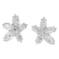 Handmade Platinum Marquise Diamond Cluster Stud Earrings