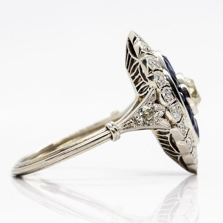 Handmade Platinum Old Mine Antique Diamonds and Sapphires Ring 2