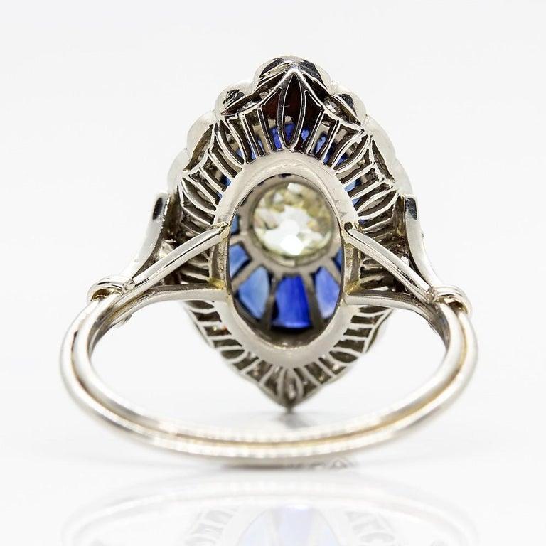 Handmade Platinum Old Mine Antique Diamonds and Sapphires Ring 3