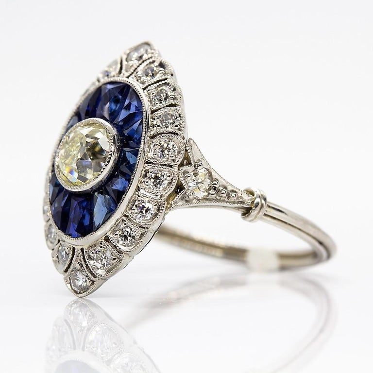Handmade Platinum Old Mine Antique Diamonds and Sapphires Ring 4