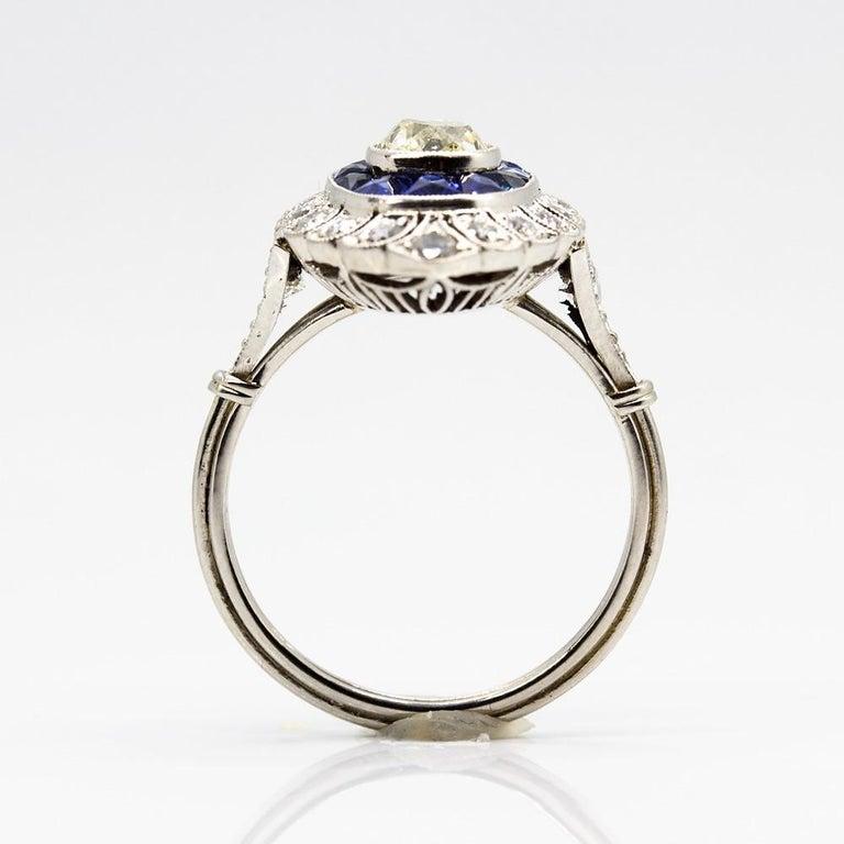 Handmade Platinum Old Mine Antique Diamonds and Sapphires Ring 5