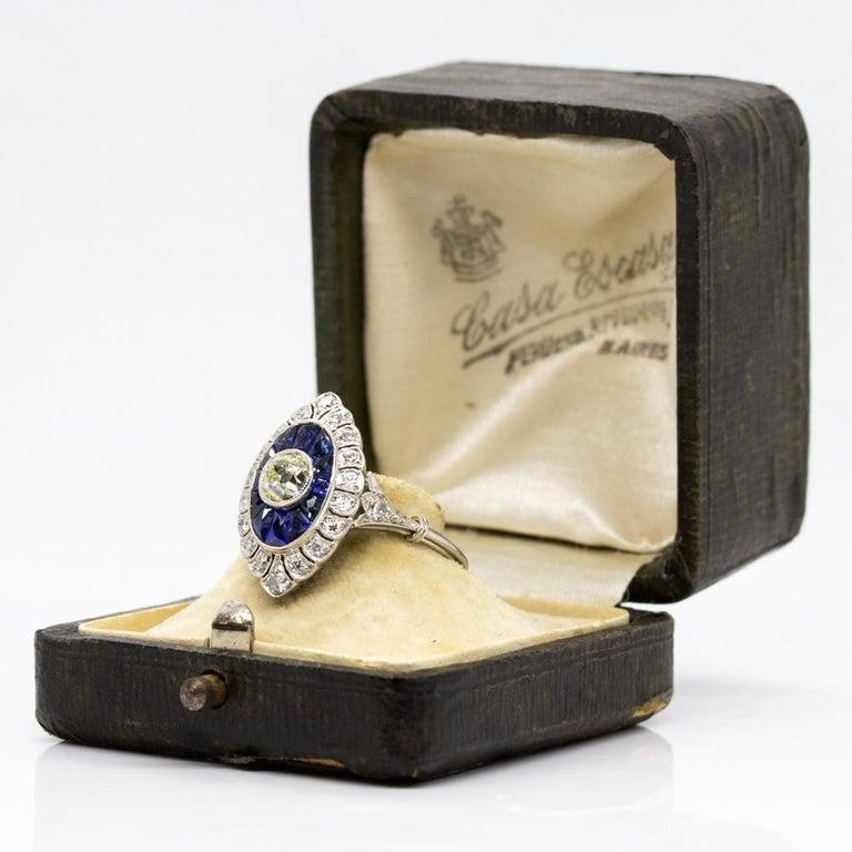 Handmade Platinum Old Mine Antique Diamonds and Sapphires Ring 6