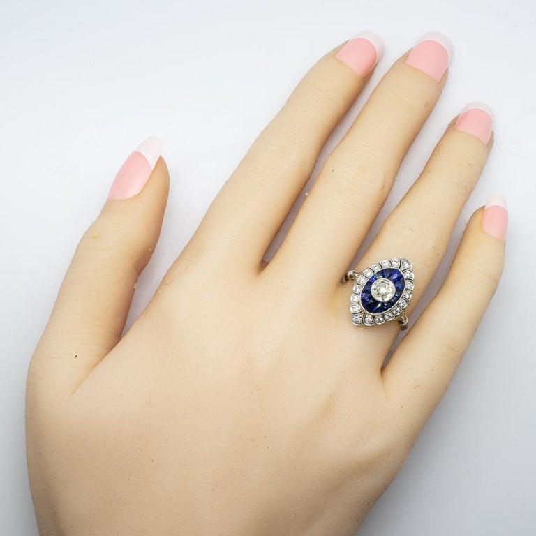 Handmade Platinum Old Mine Antique Diamonds and Sapphires Ring 7