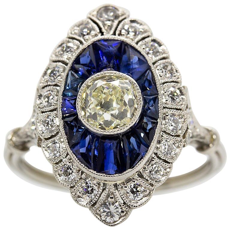 Handmade Platinum Old Mine Antique Diamonds and Sapphires Ring 1