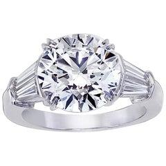 Handmade Platinum Round Diamond Engagement Ring, 5.02 Carat EVS1-GIA