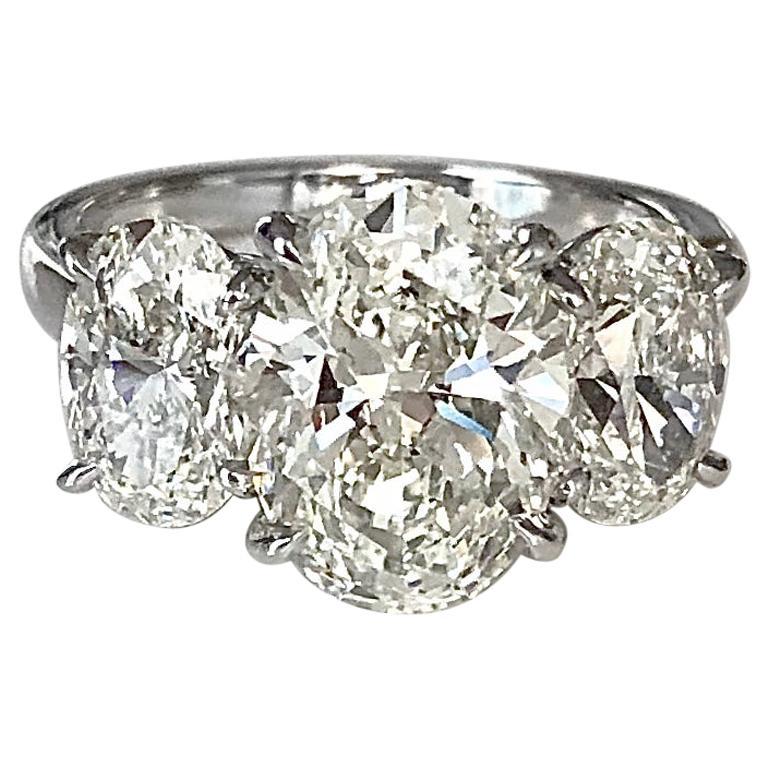 Platinum Three Stone Oval Diamond 3.01 CT+2.01 CT, Ring with GIA Report-KVS1