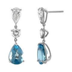 Handmade Platinum, GIA Certified Diamond & 5.47ct Pear Shape Aquamarine Earrings