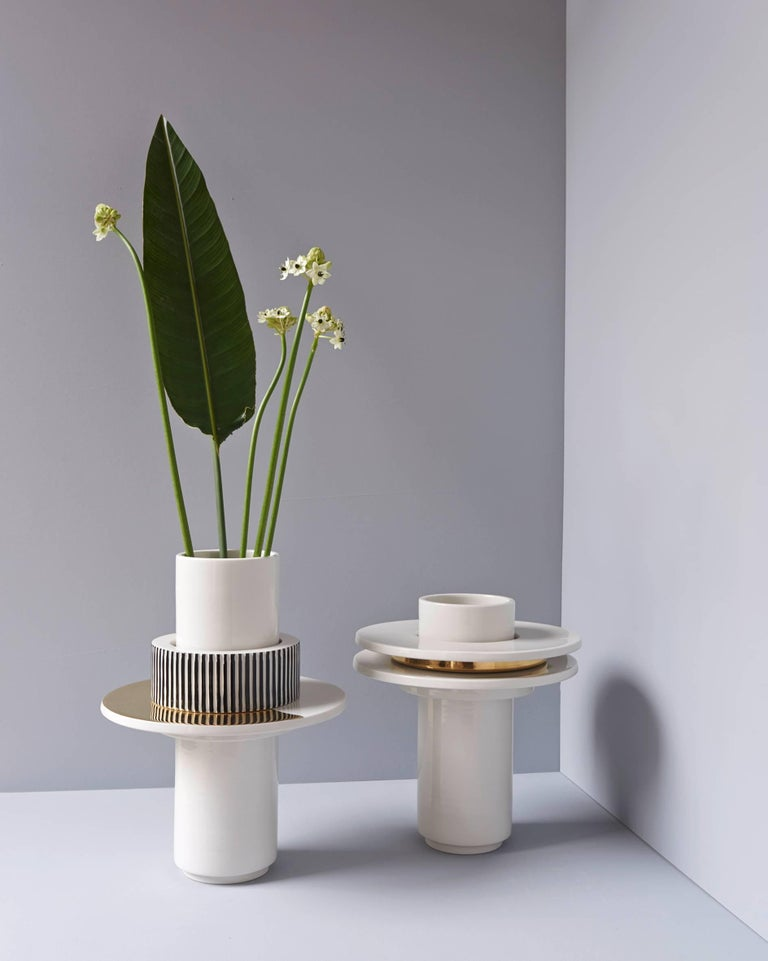 Indonesian Handmade Porcelain Vase, Modular, Striped, 25k Gold, Contemporary, Modern  For Sale