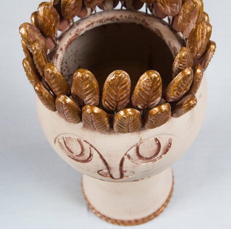 Hand-Crafted Handmade Pottery Head Vase For Sale
