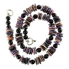 Handmade, Purple Charoite Slice Necklace