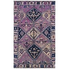 Handmade Purple Persian Shiraz Cropped Thin Bohemian Natural Wool Vintage Rug