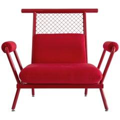 Handmade Red PK6 Armchair Carbon Steel Structure & Metal Mesh by Paulo Kobylka