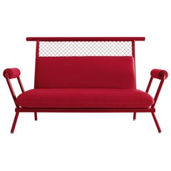 Handmade Red PK7 Sofa, Carbon Steel Structure and Metal Mesh by Paulo Kobylka