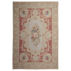Handmade Red Rug, Floral Patterned Carpet Flat-Weave Aubusson Rugs