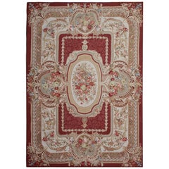 Handmade Red Rug, Floral Patterned Rug,Aubusson Rugs, Needlepoint Flat Weave Rug