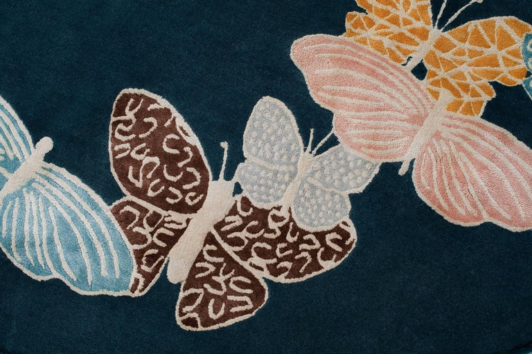 Teal, blue, orange, pink, Round Wool & Silk Rug, Butterfly pattern 150 Knots In New Condition For Sale In Brooklyn, NY