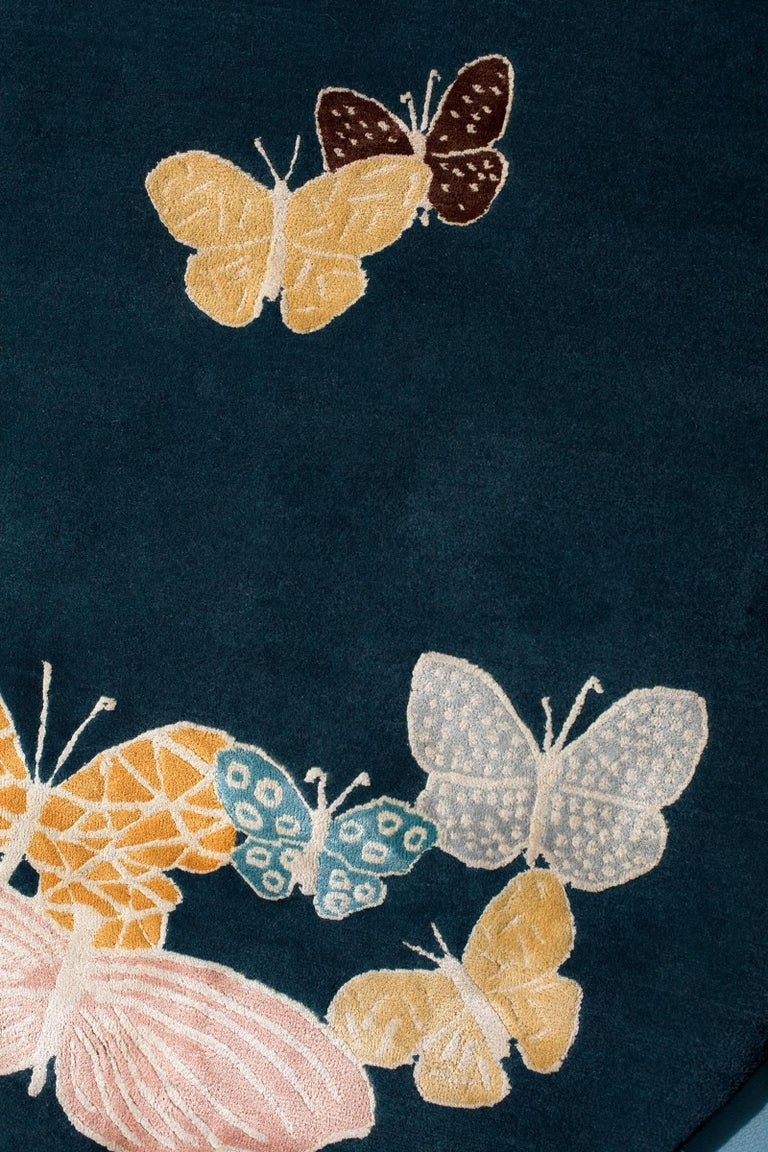 Contemporary Teal, blue, orange, pink, Round Wool & Silk Rug, Butterfly pattern 150 Knots For Sale