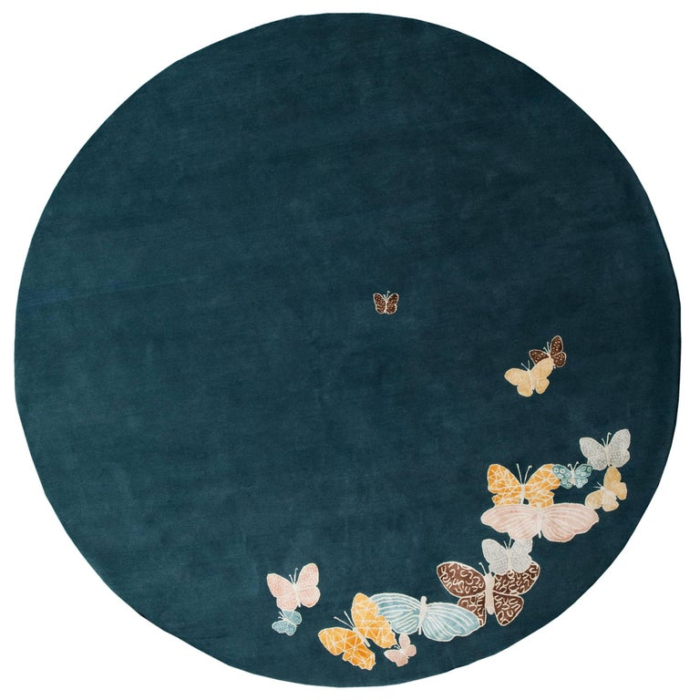 Teal, blue, orange, pink, Round Wool & Silk Rug, Butterfly pattern 150 Knots For Sale