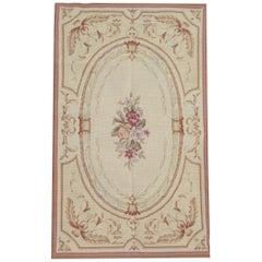 Handmade Rug, Aubusson Rugs Floral Medallion, Needlepoint Flat-Weave Rug