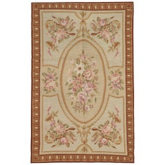 Handmade Rug, Floor Patterned Rug, Aubusson Rugs, Needlepoint Flat-Weave Rug