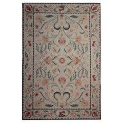 Handmade Rug Floor Patterned Rug Aubusson Style Rugs, Needlepoint Flat-Weave Rug