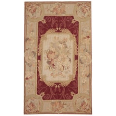 Handmade Rug, Floor Red Rug, Aubusson Style Rugs, Needlepoint Flat-Weave Carpet
