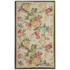 Handmade Rug, Floral Patterned Rug, Aubusson Rugs, Needlepoint Flat-Weave Rug
