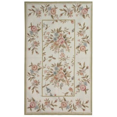 Handmade Rug, Floral Patterned Rug, Aubusson Style Rugs, Needlepoint Flat-Weave