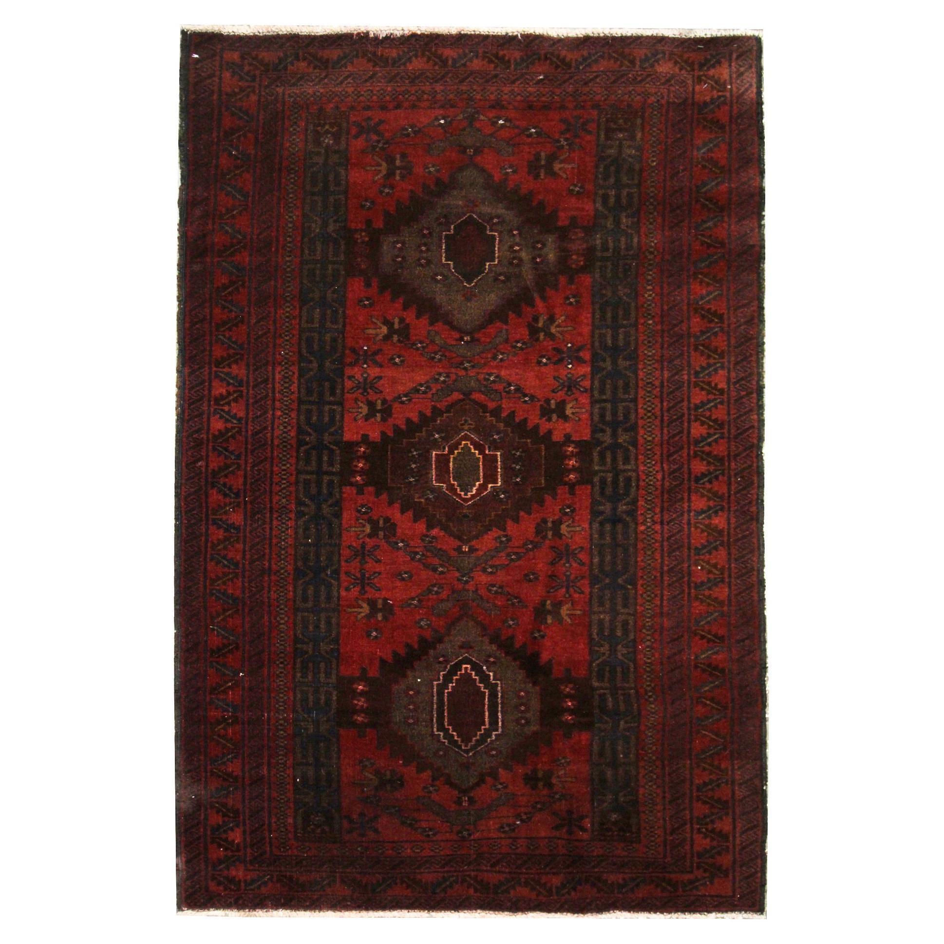Handmade Rug Vintage Afghan Rug, Traditional Oriental Area Carpet