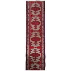 Handmade Runners and Rugs, Oriental Carpet Red Wool Vintage Rugs
