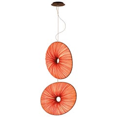 Handmade Rust Pleated Silk Gail 2 Chandelier