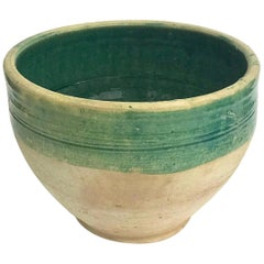 Handmade Rustic Farmhouse Blue-Green Glazed Terracotta Large Bowl/ Planter / Pot