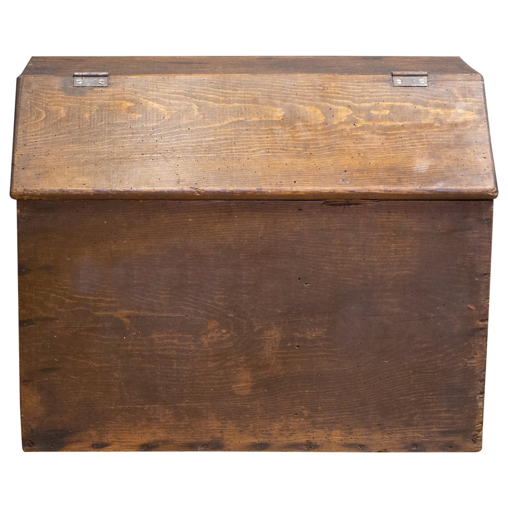 Handmade Rustic Lidded Wooden Box/Storage Bin, C.1940