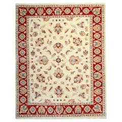 Handmade Saltanabad Ziegler Style Rug, Cream and Red Wool Rug