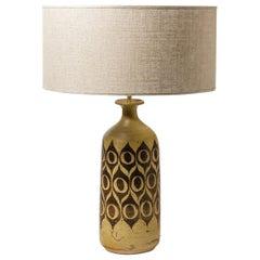 Handmade Scandinavian Stoneware Ceramic Borwn and Cream Table Lamp 1970 Design