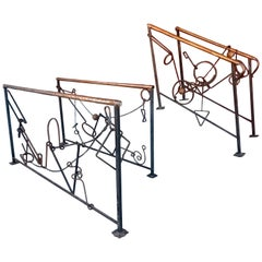 Handmade Sculptural Iron, Copper, Bronze 4 Piece Railings, by Larry Griffis Sr.
