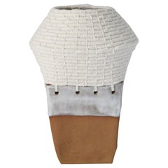 Handmade Sculptural Vessel in Natural Ceramic with White Woven Cotton