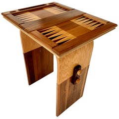 Handmade Sculptural Wood Backgammon Table