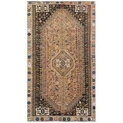 Handmade Semi Antique Persian Shiraz Worn Down Natural Wool Bohemian Rug