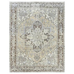 Handmade Semi Antique Washed Out Persian Heriz Distressed Wool Rug