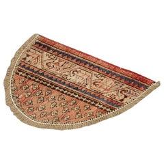 Handmade Semicircle Entrance Way Mat, Vintage Oriental Rug Door Way Carpet Mat