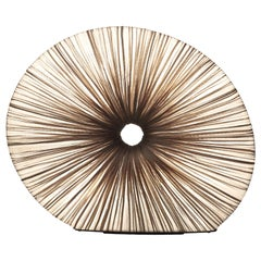 Handmade Shell Colored Pleated Silk Rigua Table Lamp
