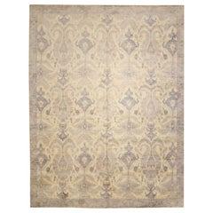 Handmade Silk and Wool Abstract Rug