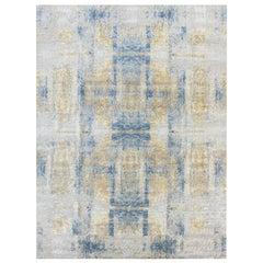 Handmade Silk and Wool Contemporary Rug, Modern Design