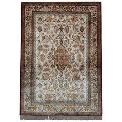 Handmade Silk Rug, Oriental Rugs Traditional Carpet Silk Floral