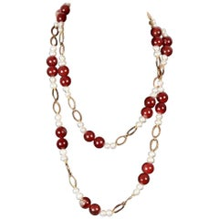 Handmade Silver 925 Necklace with Agate Baroque Pearls Beads