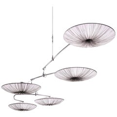 Handmade Smoke Pleated Silk Stand by 5 Kinetic Mobile Light