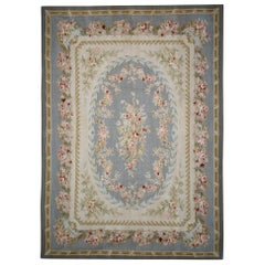 Handmade Sky Blue Aubusson Rugs, Floral Patterned Carpet Flat-Weave Blue Rug