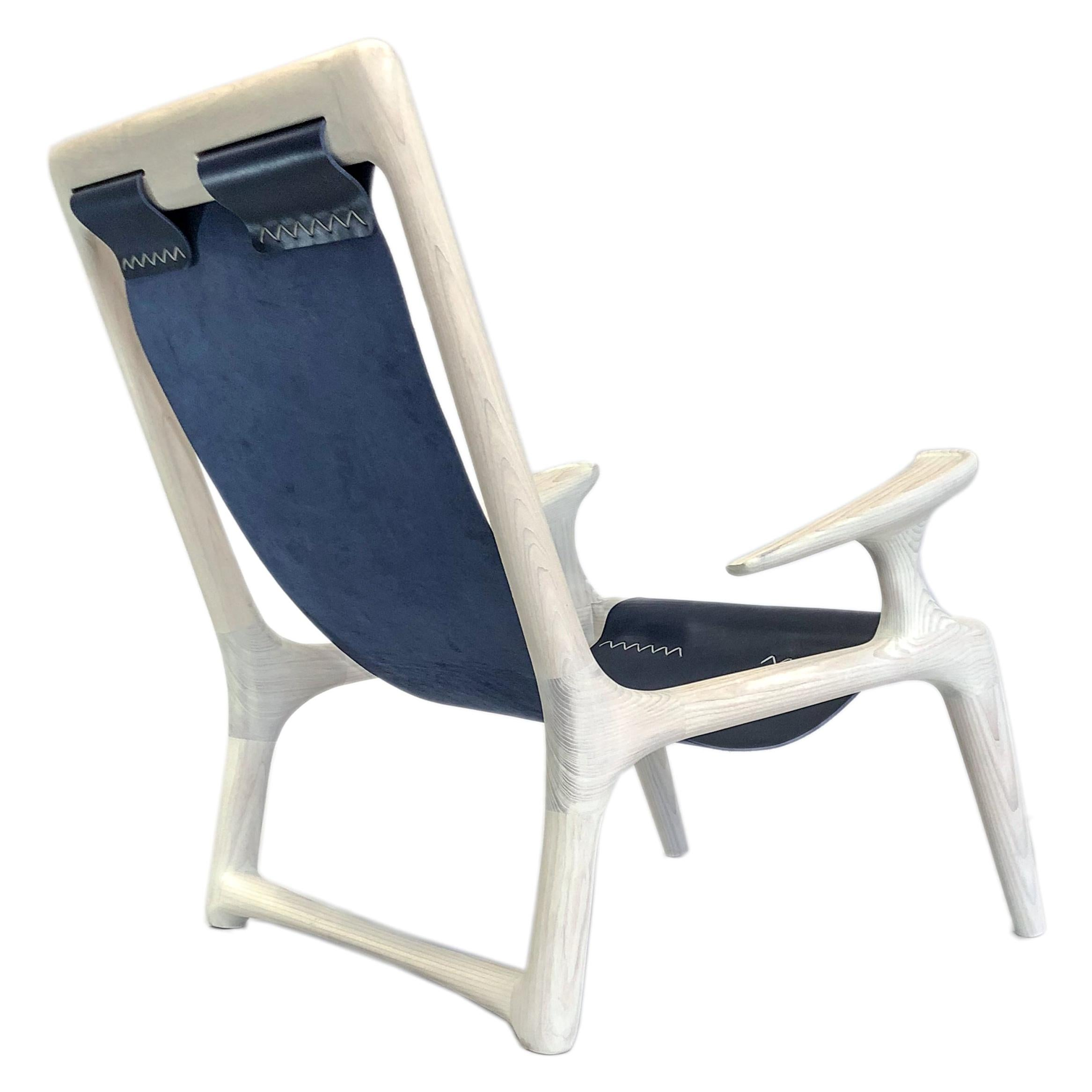 Handmade Sling Arm Chair in White Ash & Navy Leather, by Fernweh Woodworking